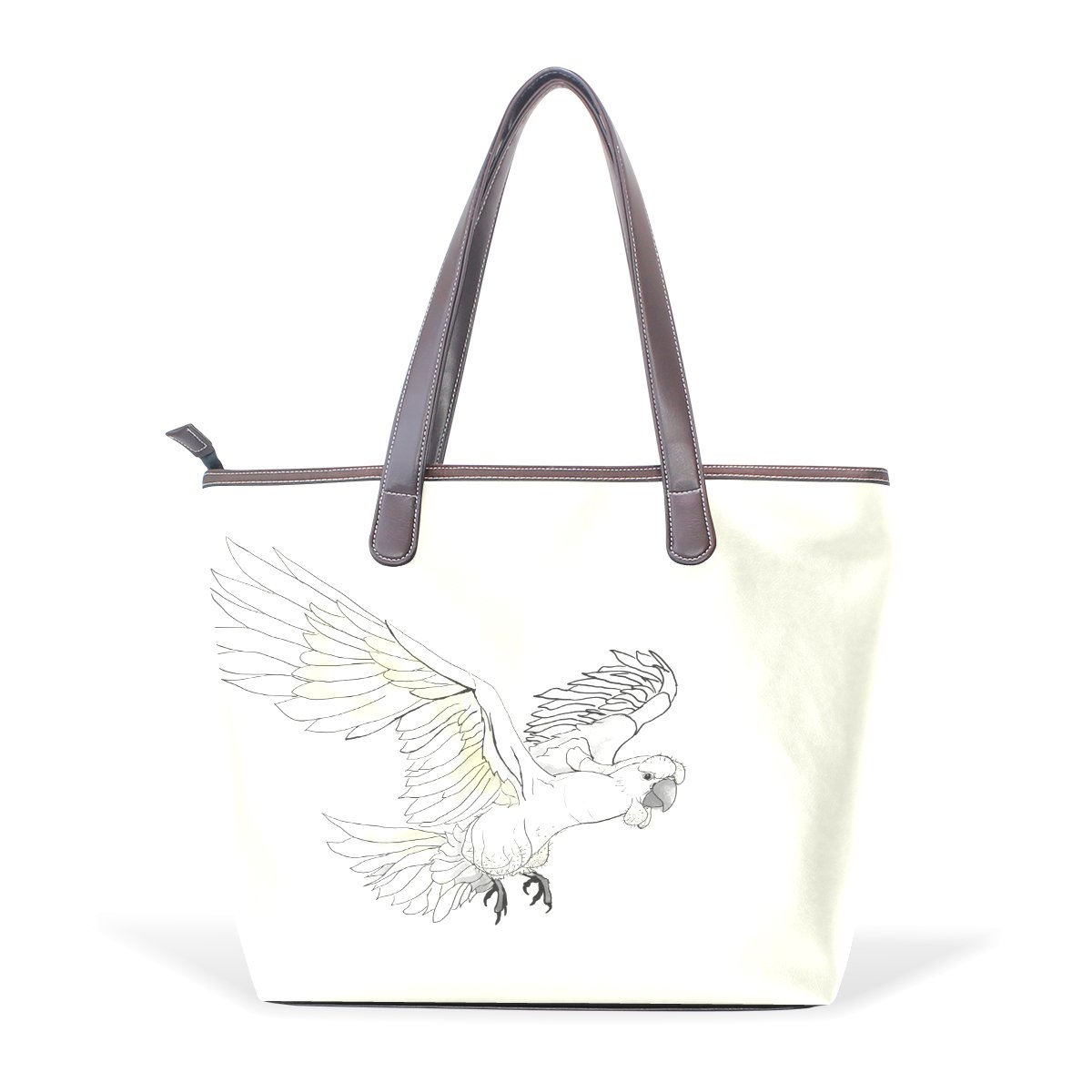 Ye Store Painting The Parrot Lady PU Leather Handbag Tote Bag Shoulder Bag Shopping Bag