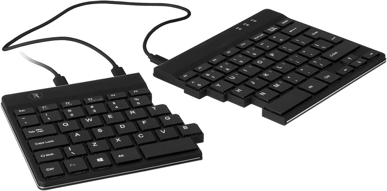 R-Go Split Keyboard, Ergonomic, QWERTY (US), Black, Wired USB, Portable, Windows/Linux