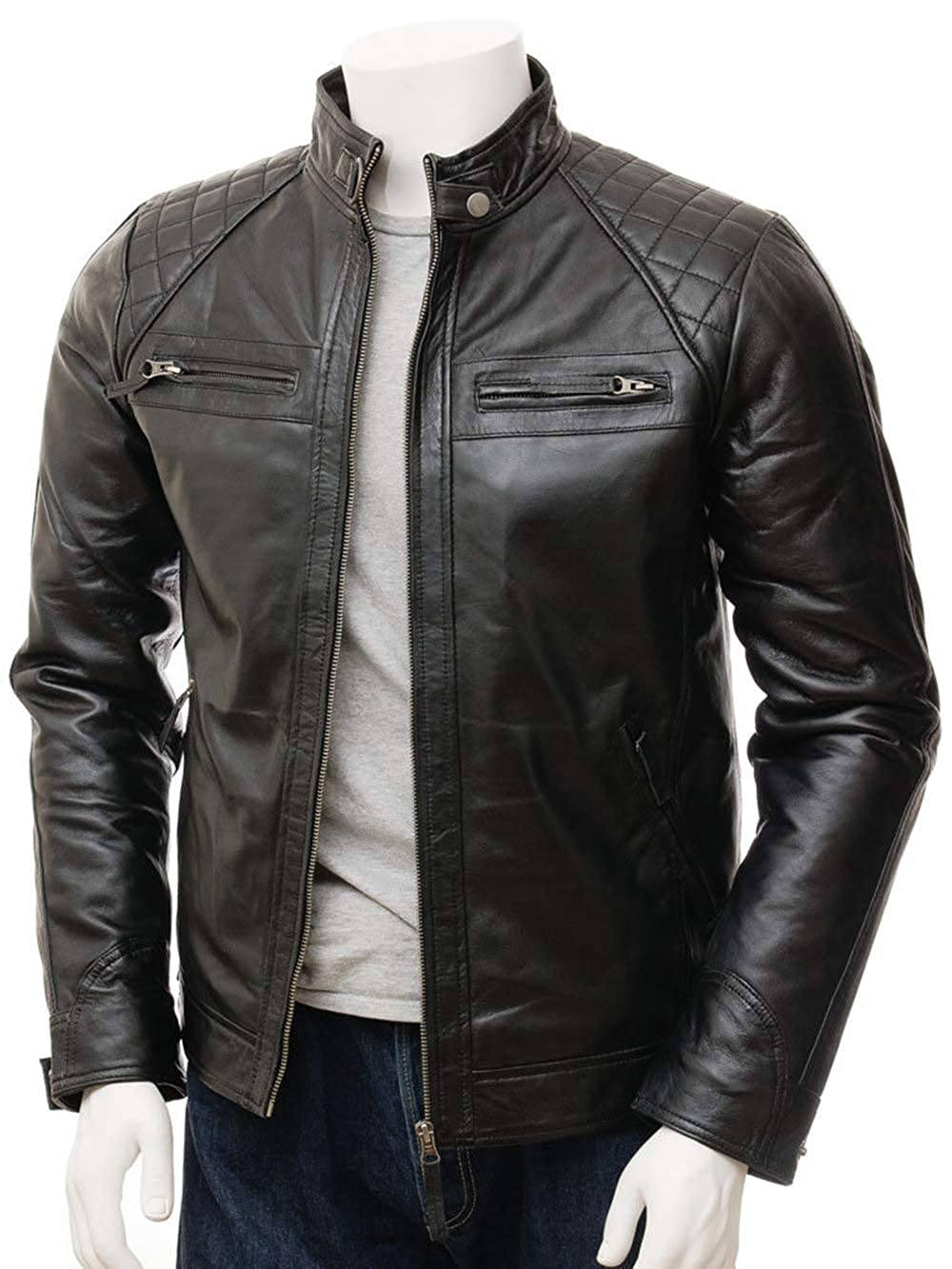 Mens Retro Quilted Motorcycle Black Vintage Cafe Racer Slim Fit Leather Jacket