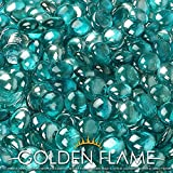 Golden Flame 10-Pound Fire Glass Fire-Drops 1/2-Inch Caribbean Blue Reflective