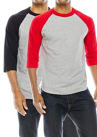 526ca52c67 Amazon.com: JNTOP Men's 2 PK Raglan T-Shirt Red/Grey, Navy/Grey 3X ...