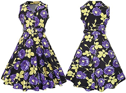 Bestfort Vintage Kleider Damen Sommerkleider V-Ausschnitt Cocktailkleid Knielang Ärmellos Festliche Blumen Retro Mode Rockabilly Kleid mit Gürtel A-Linie Rock Violett jAudh