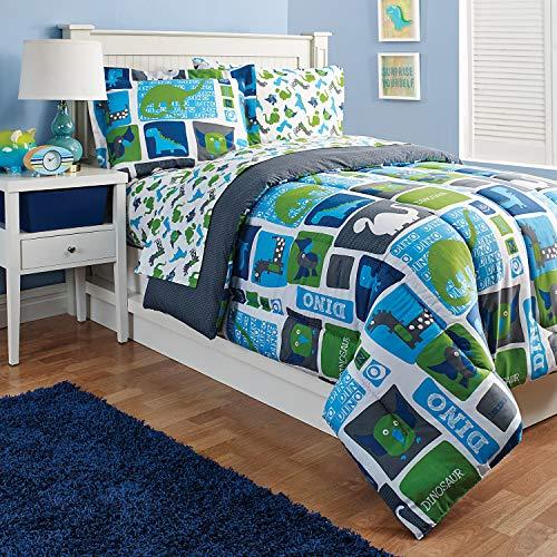 (Kidz Mix Dinosaur Blocks, Reversible, Full Comforter Set Blue)