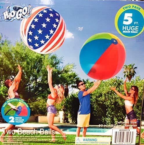 H2OGo Huge Giant Beach Balls Two Pack, Both Beach Balls are 5 Feet by H2OGo
