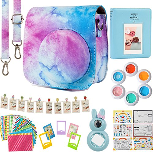 Flylther Compatible Mini 8 9 Camera 8-in-1 Accessories Bundles Set for Fujifilm Instax Mini 8 9 Instant Film Camera(Case,Albums,Frames,Film Stickers,Colored Filters,Selfie Lens)- Blue Pink Watercolour by Flylther