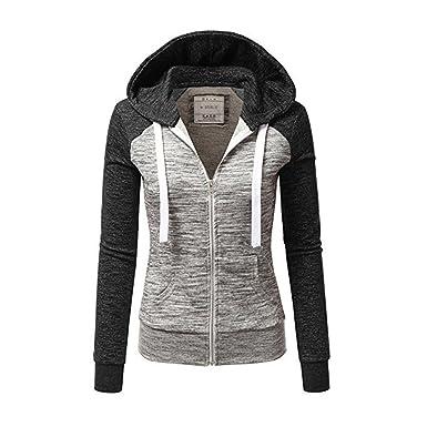 Newbestyle Jacke Damen Sweatjacke Hoodie Sweatshirt Pullover Oberteile  Kapuzenpullover V Ausschnitt Patchwork Pulli mit Kordel und 8f9f623979