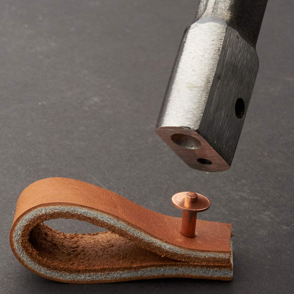 Rivet Setter Tool for Leather and Canvas with Solid Copper Rivets and Burrs
