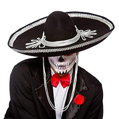 HalloweenAroundCorner.com Large Black Mexican Mariachi Sombrero Party HAT: Clothing