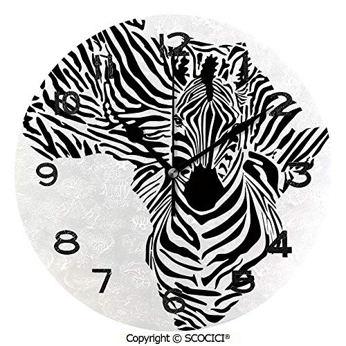 SCOCICI 10 Inch Round Face Silent Wall Clock Illustration of African Map with Zebras Camouflage Stripes Patterns Cultural Print Unique Contemporary Home and Office -