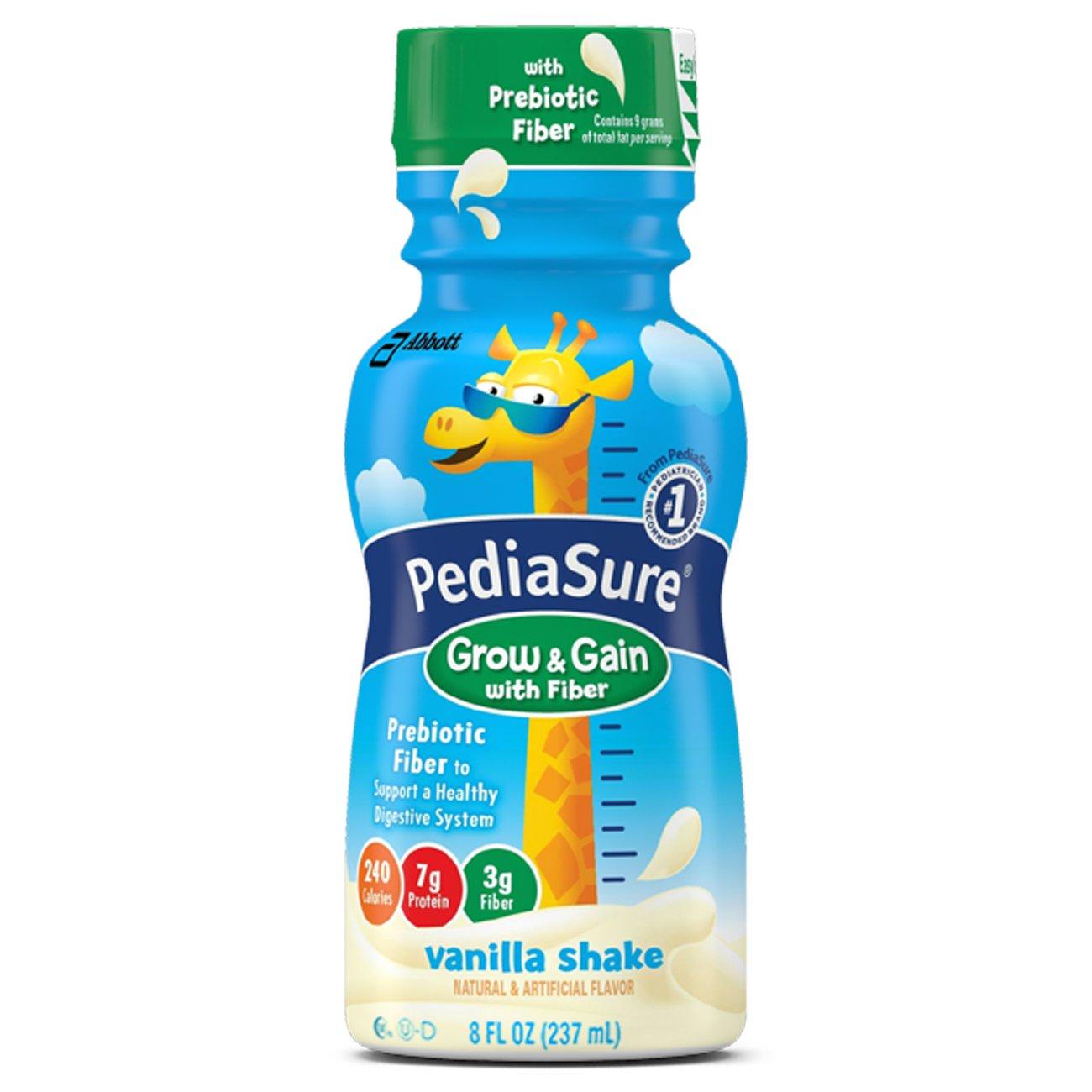 PediaSure Grow & Gain Nutrition Shake with Fiber for Kids, Vanilla, 8 fl oz, 24 Count