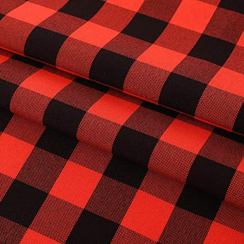 HENLY Round Gingham Checkered Tablecloth,Waterproof Stain Resistant Buffalo Plaid Tablecloth,Washable Wipeable Gingham Table Cloth for Picnic and Camping 60 Inch Round, Black and Red