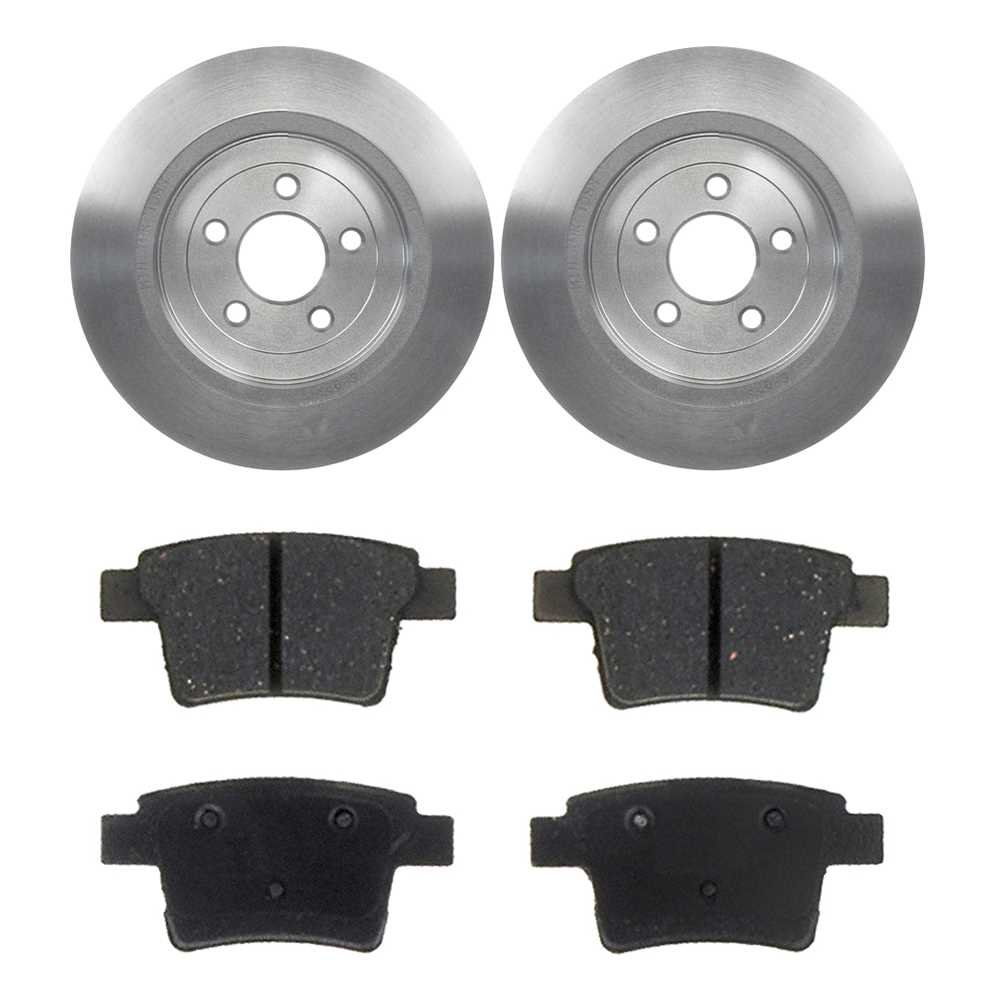 Prime Choice Auto Parts CBO641271377 2 Rear Brake Rotors and 4 Ceramic Brake Pads