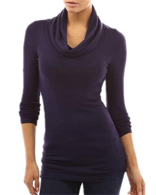 Tayaho Camisetas Mujer Camisa Con Manga Larga Con Cuello Alto Camiseta Color SÓLido Bonitas Tops Fastar Elegante Blusas Fit Casuales T-Shirts Hipster: ...