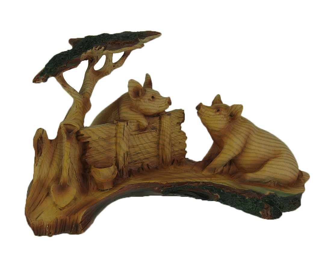 Everspring Hog appendere in finto legno intagliato look Pig Pals statue