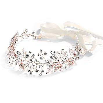 Mariell Rose Gold Crystal Bridal Wedding Headband Hair Vine with White Ribbons