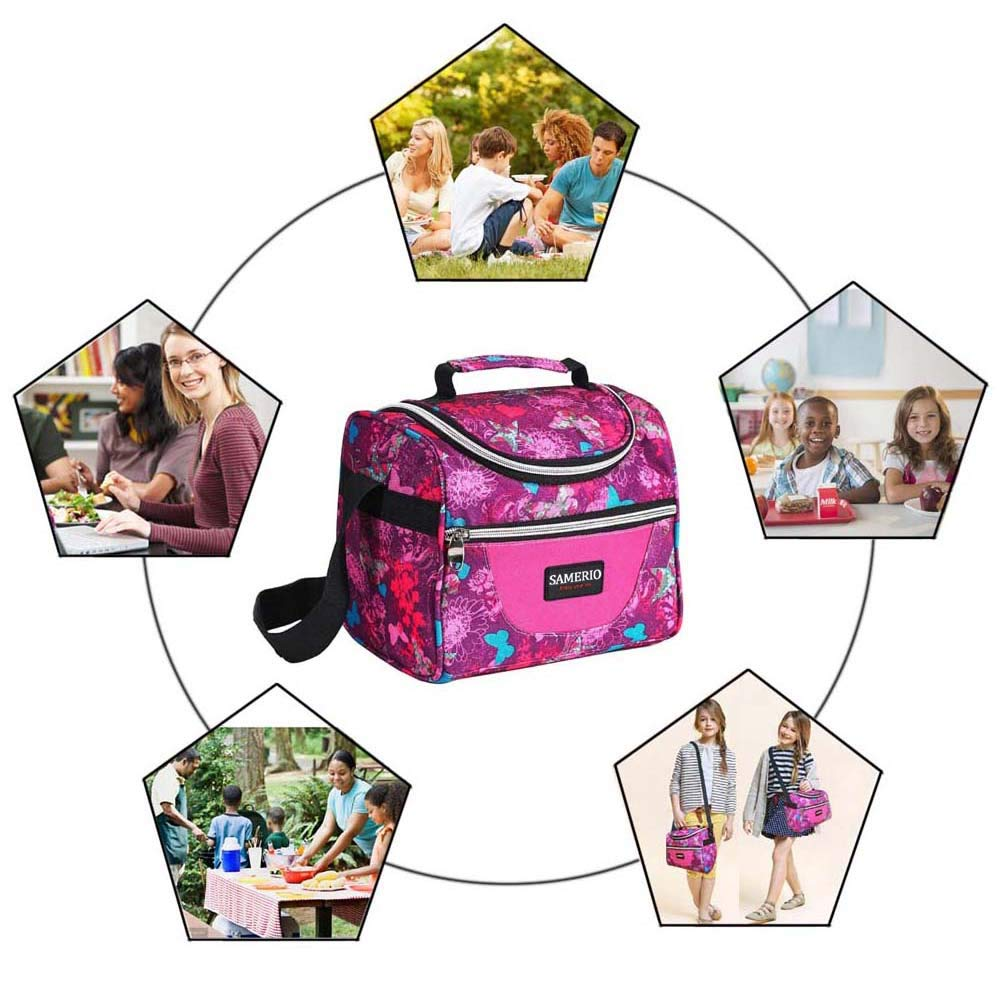 Lunch Bag For Women, Reusable Lunch Tote Bag Adult Lunch Box For Work, Men, Women With Adjustable Strap and Zip Closure Travel Lunch Tote, Front Pocket (rose)