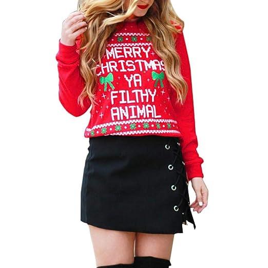 b8cf31e6b HGWXX7 Women's Merry Christmas Print Long Sleeve Tops Sweatshirt Pullover  Blouse Xmas Shirt Sweater(S