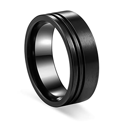 Precise Stainless Steel Striped 8mm Black Plated Brushed/ Wedding Ring Band Size 12.50 Engagement & Wedding