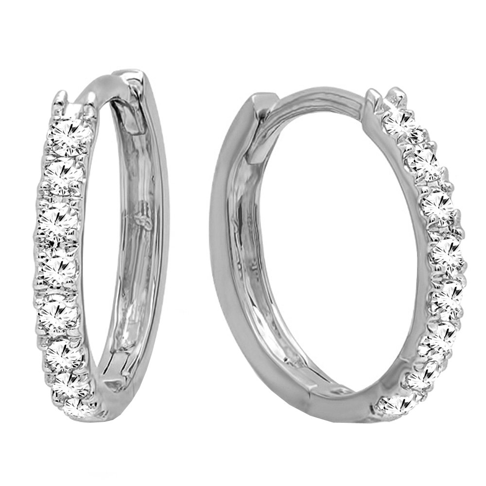 Dazzlingrock Collection 0.20 Carat (ctw) 14K Round White Diamond Ladies Huggies Hoop Earrings 1/5 CT, White Gold
