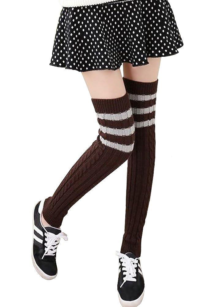 Urban CoCo Women's Winter Knee High Footless Socks Knit Crochet Leg Warmer HC121