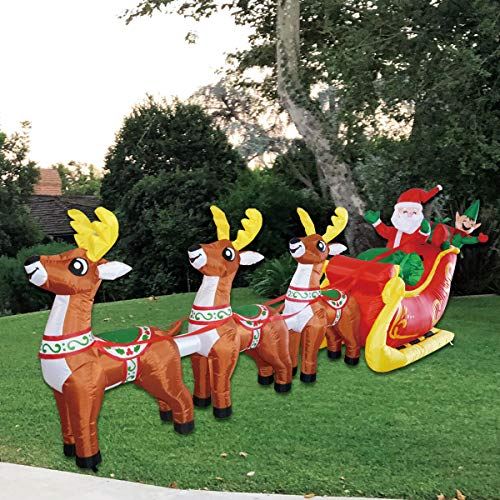 GOOSH Christmas12 Foot Inflatable Santa Reindeer Sled Outdoor Decoration Claus LED Lights Indoor Lawn Decoration - Cute Fun Xmas Blow Up Yard Decorations (Xmas Lights Reindeer)