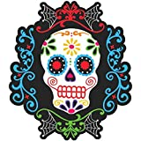 """Amscan Day of the Dead Halloween Party Sugar Skull Cutout Wall Decoration, 10 1/2"""", Multicolor"""