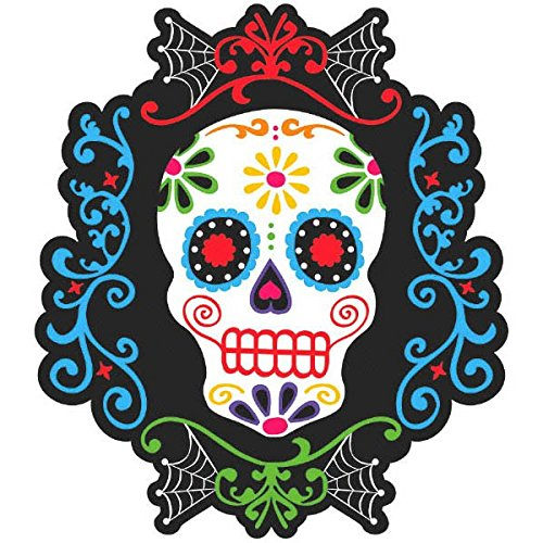 Day Of The Dead Party Decor (Amscan Day of the Dead Halloween Party Sugar Skull Cutout Wall Decoration, 10 1/2
