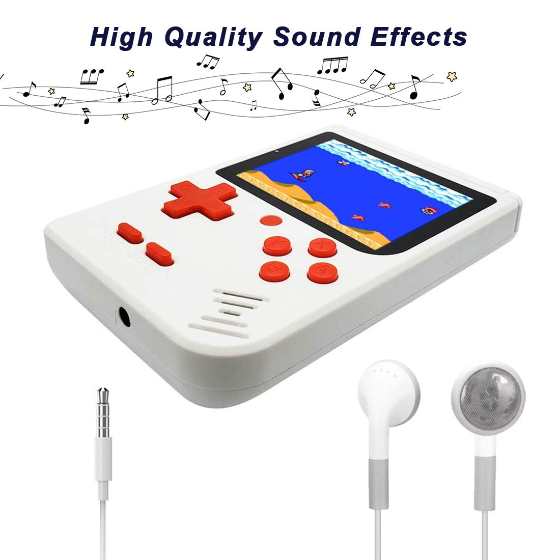 AKTOUGST Handheld Game Console, Retro Game Console 400 Classic Game FC System Video 3 Inch with Headphone Portable Mini Extra Joystick Controller Support TV 2 Player,Gift for Children Adult, (White) by AKTOUGST (Image #5)