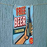 SOCOMIMI Super Absorbent Towel Arm Holding Bottle with Free Beer Quote Beverage Pub Offer Sale Fun Murky Ideal for Everyday use