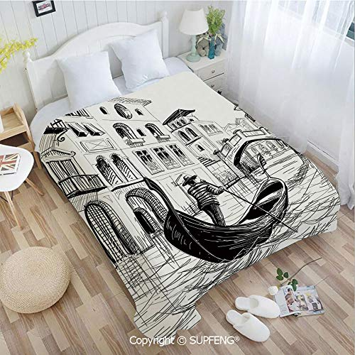 Camping Blanket Gondola in Venice European Famous Canal History Mediterranean Holiday Image(W31.5xL47.3 inch ) Easy Care Machine Wash for Bedroom/Living Room/Camping etc (Chair History Back Ladder)
