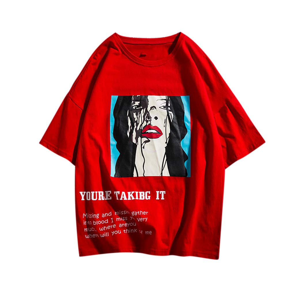 iZZZHH Mens Loose-fit Personality Printed Casual Short T-Shirt Tops