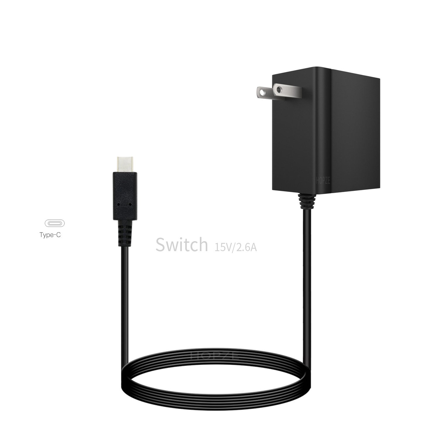 Nintendo Switch Charger AC Adapter Hopze Nintendo Switch Charger with 5 FT Power Supply Cord and Type C Fast Charging kit - 15V 2.6A AC Adapter for Nintendo Switch Supports TV Mode and Dock Station by Hopze (Image #1)