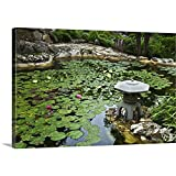 Gallery-Wrapped Canvas Entitled Koi Pond Covered Lily Pads at Isamu Taniguchi Japanese Garden Great Big Canvas 24''x16''