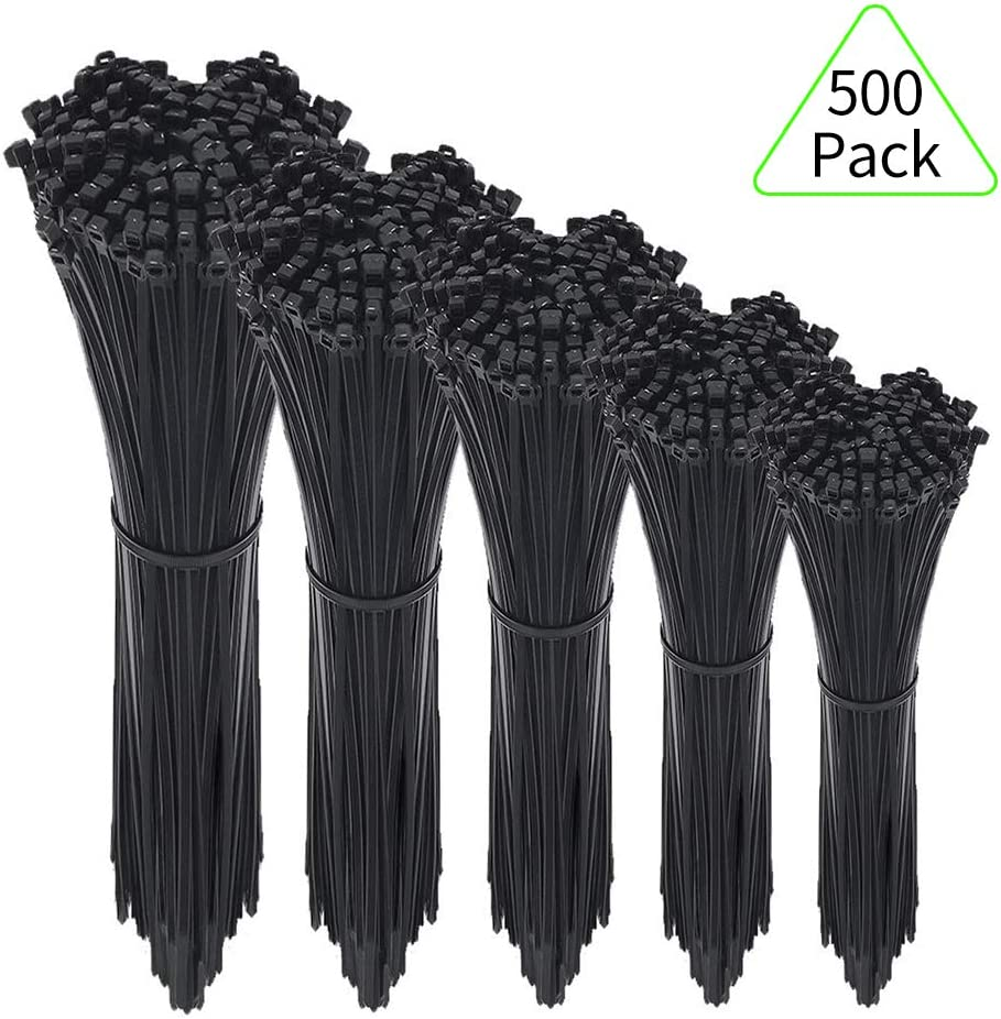 Zip Ties,500 Packs Self-Locking 4+6+8+10+12-Inch Width 0.16inch Nylon Cable Ties,Perfect for Home,Office,Garage and Workshop (Black)