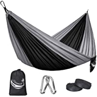 JBM Hammock Single Double Camping Lightweight Portable Parachute Hammock Outdoor Hiking Travel Backpacking - Nylon Hammock Swing - Support 400lbs with Nylon Ropes and Steel Carabiners (6 Colors)