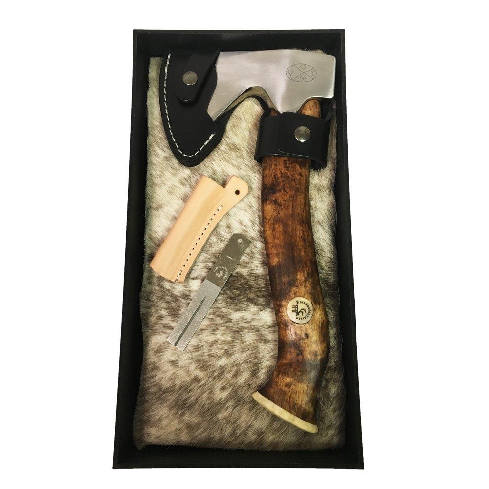 Karesuando Kniven Stuorra Aksu Big Axe Hatchet 11.5'' Overall, Brown Oiled Curly Birch Handle, Leather Sheath - 4014 by Karesuando Kniven (Image #2)