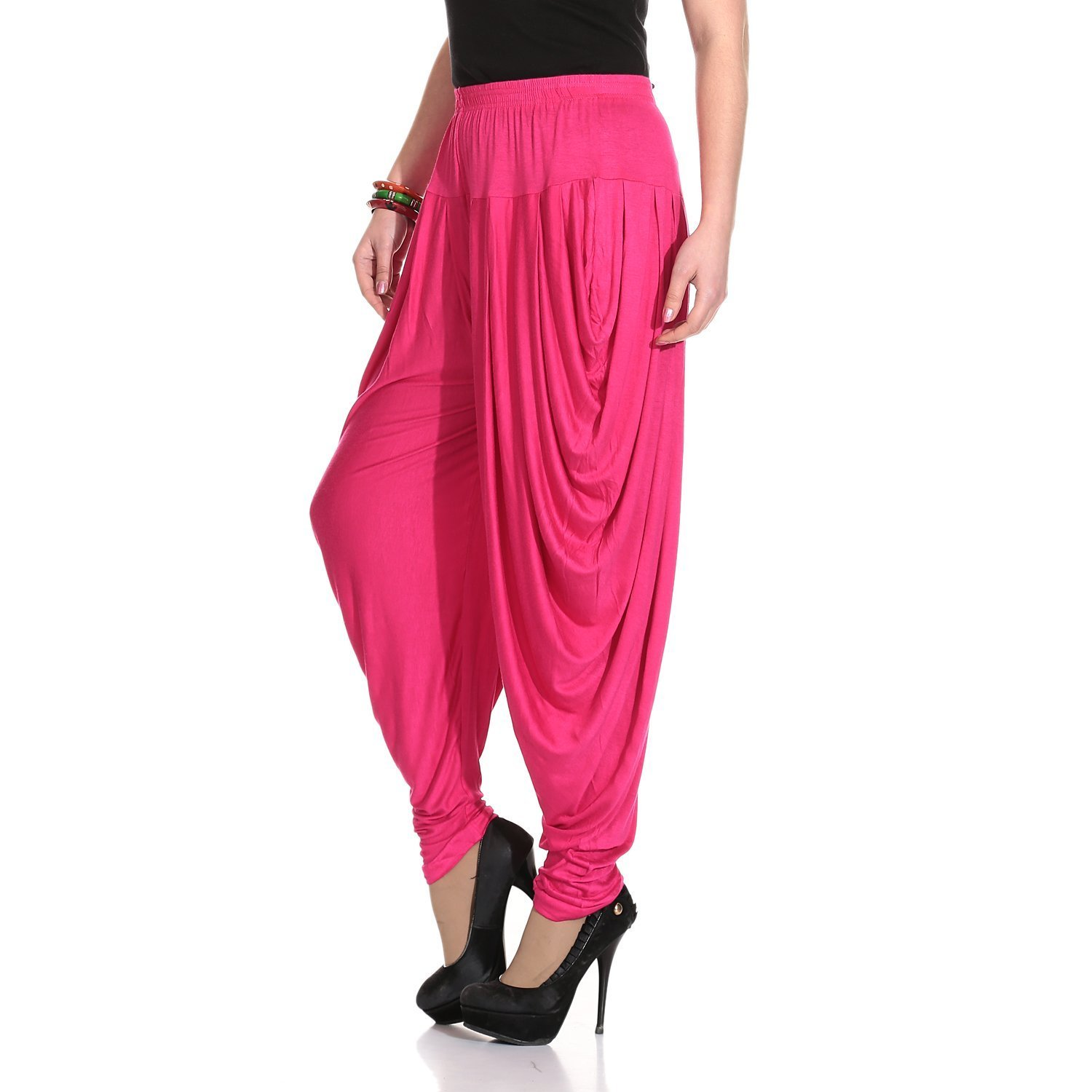 Ardour Dark Pink Relaxed Comfortable Cotton Blend Belly Dance Pants for Women- Free Size by Ardour (Image #2)