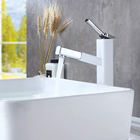 White NEW Pull Out Bath Brass Basin Sink Faucet Deck Mount One Hole Mixer Tap