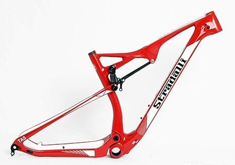 Stradalli 29er - Marco de Bicicleta de montaña XC (Carbono, Doble suspensión), Color Rojo: Amazon.es: Deportes y aire libre