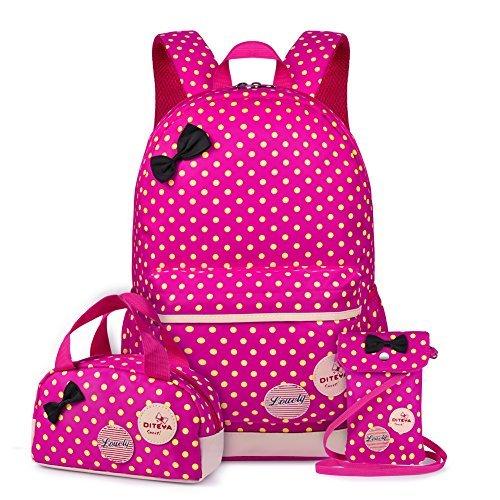 Vbiger 3 in 1 School Bag Waterproof Nylon Shoulder Daypack Polka Dot Bookbags Backpacks Cell Phone Messenger Bags Pencil Case (Rosy) [並行輸入品]   B078WVPLPQ