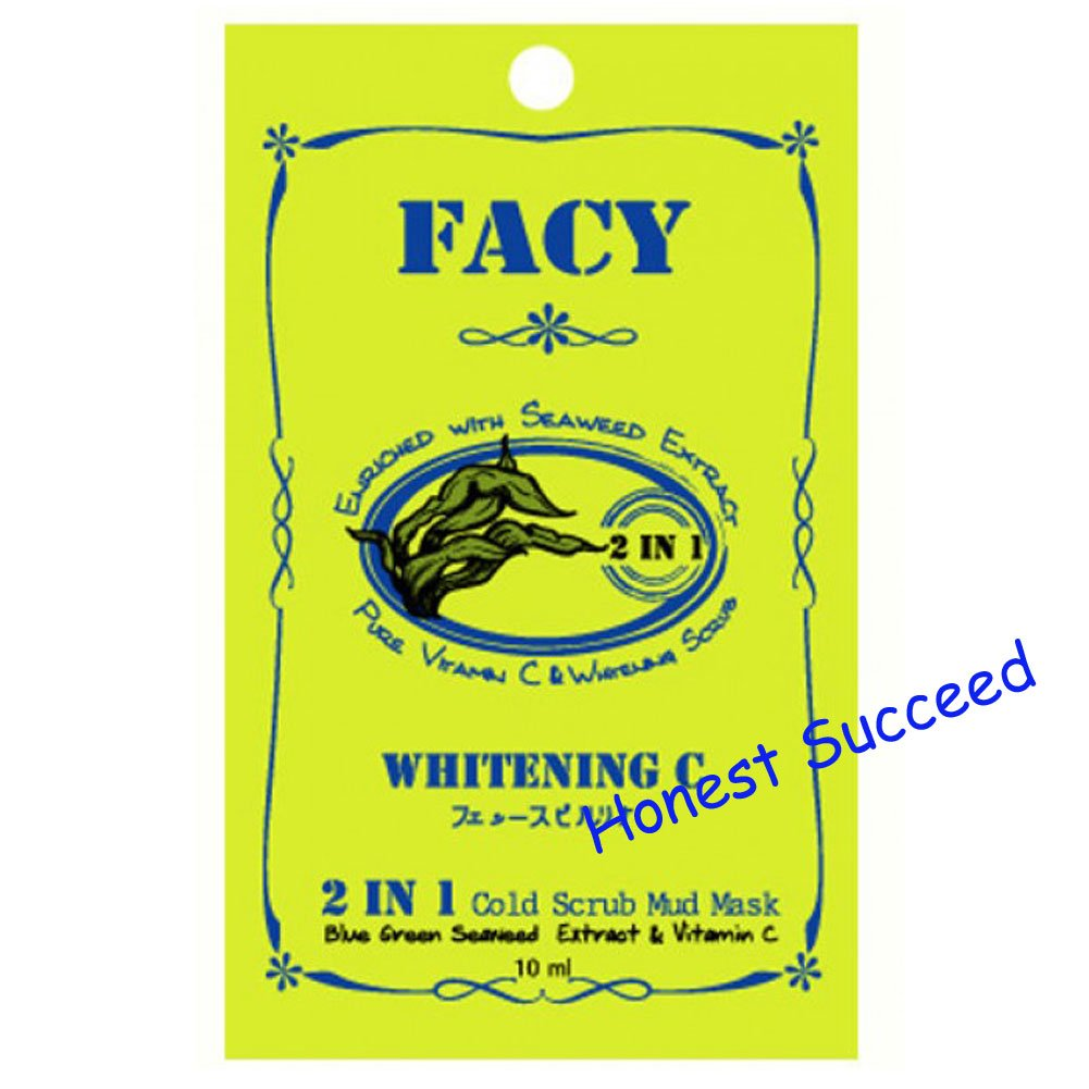 Facy Whitening C 2 in 1 Cold Scrub Mud Mask 10mlx12 Packs.(Honest Succeed)