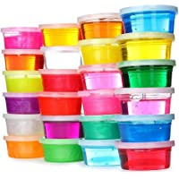 Brite Toys 24PCS Crystal Slime Clay, Slime Making Kit Clear Putty Mud Toys For Children Kids Including DIY Moulds Magic Soft Jelly Clay Mud Organizer Sealed Plastic Container Non Toxic And Straws