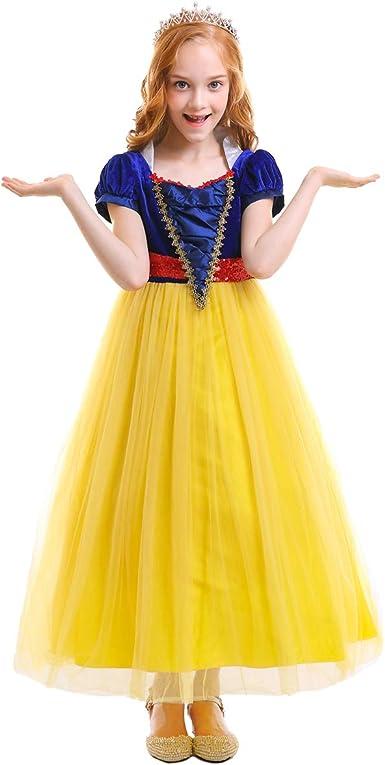 IWEMEK Vestidos de la Princesa Blancanieves Cuento de Hadas ...