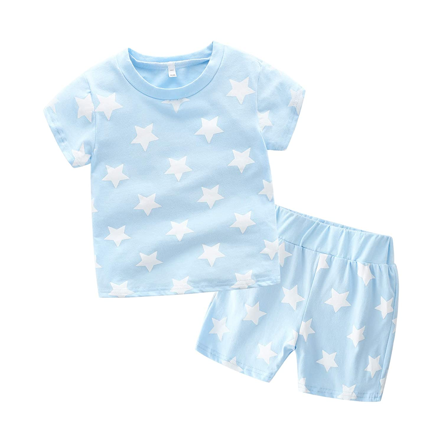XINXINHAIHE Kid Boy Summer Casual Set 2pcs Stripe Star Print T-Shirt Top+Elastic Shorts