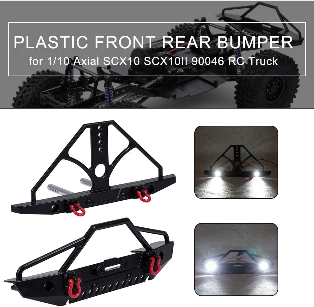 GoolRC Plastic Front Rear Bumper with Metal Tow Hook LED Lights for 1//10 Axial SCX10 TRX4 SCX10II 90046 RC Truck