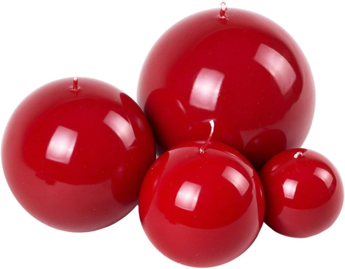 Rouge laqu/é Boule Bougies anti-goutte Sp/écial Bougies en 4/tailles au choix Rot Komplettset alle 4 Gr/ö/ßen