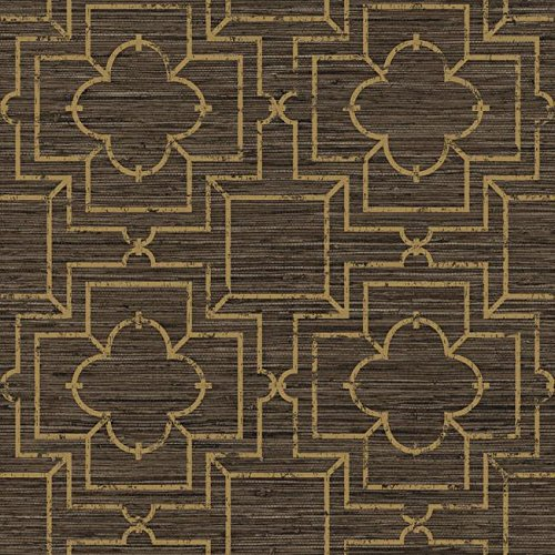York Wallcoverings GE3660 Ashford Geometrics Irongate Trellis Wallpaper,,, Shades Of Brown, Dull Gold