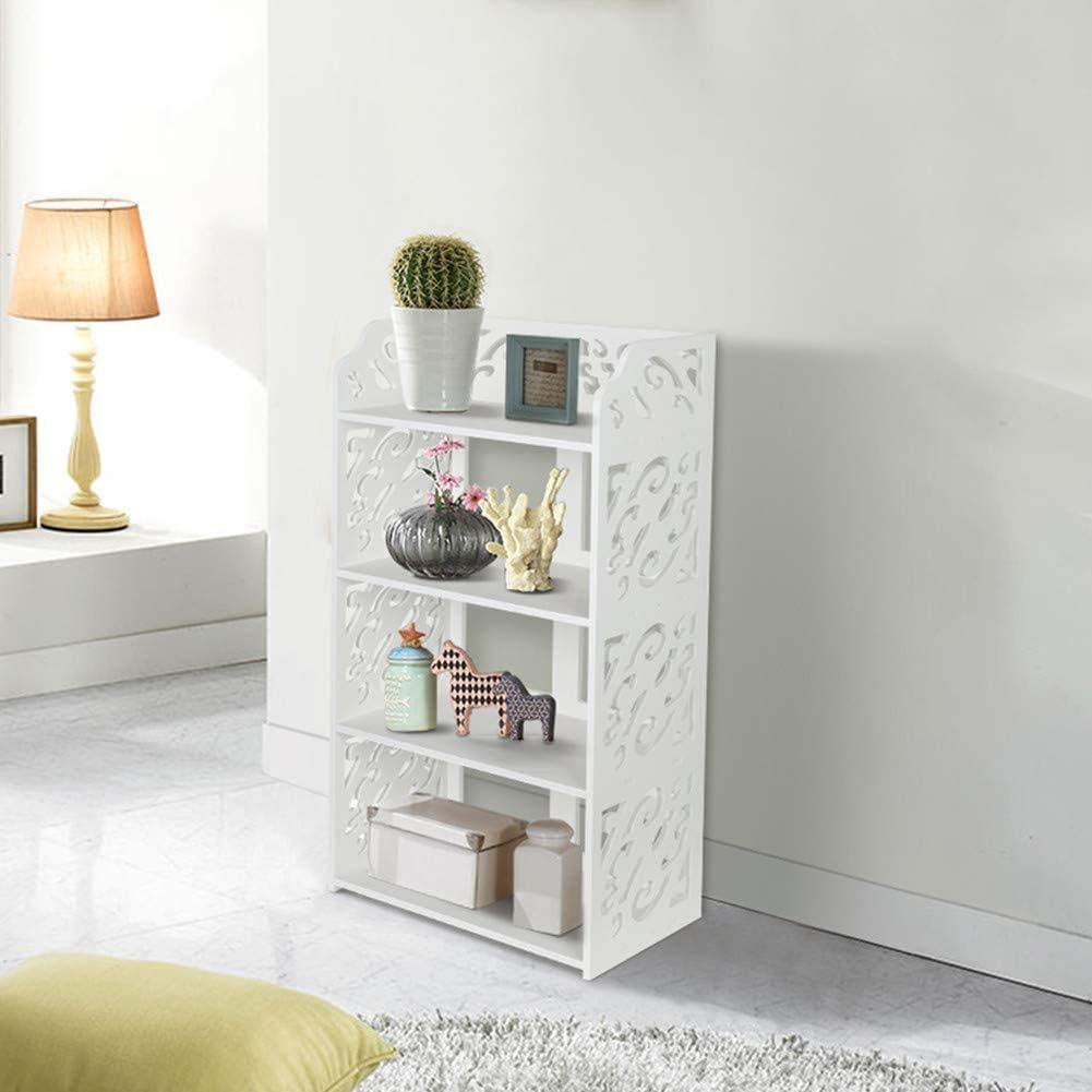 salottiera Scarpiera in legno a 4 livelli colore: Bianco Greensen per bagno