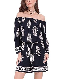 1ea7478743 SIMSHION Women s Boho Floral Print Off Shoulder Strapless Short Jumpsuit  Playsuit Romper