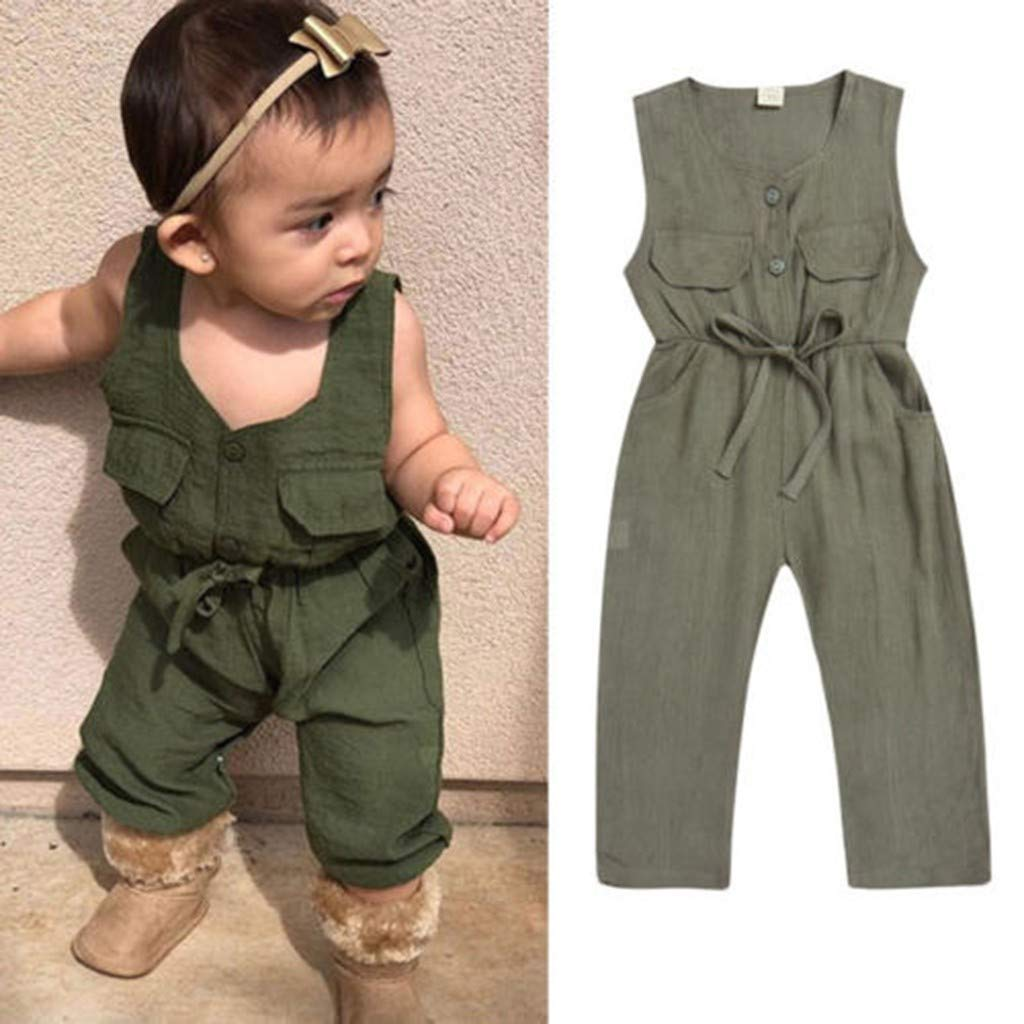 Jonecal Baby Romper,Newborn Infant Baby Sommer Sleeveless Pocket Jumpsuit Belt Outfits Clothes